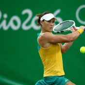 Sam Stosur in action during her first-round win over Jelena Ostapenko at the Rio 2016 Olympics; Getty Images