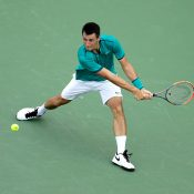 Bernard Tomic in action during his victory over Kei Nishikori in the third round of the Cincinnati Masters; Getty Images