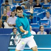 Bernard Tomic in action during his quarterfinal loss to Andy Murray at the Cincinnati Masters; Getty Images