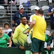 Groth and Kyrgios celebrate after the win. Photo: Getty Images