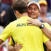 Hewitt and Peers celebrate the win. Photo: Getty Images