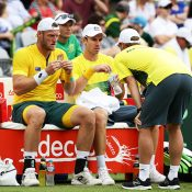 Captain Lleyton Hewitt spurred the boys on to victory. Photo: Getty Images