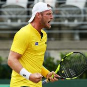 Sam Groth gets fired up. Photo: Getty Images