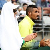 Nick Kyrgios was courtside throughout the match. Photo: Getty Images