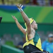 Dylan Alcott celebrates his victory over Andy Lapthorne in the final of the quad wheelchair gold medal match at the Rio 2016 Paralympics; ITF Wheelchair Tennis