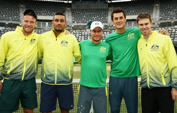 The Australian Davis Cup team of (L-R) Sam Groth, Nick Kyrgios, Lleyton Hewitt, Bernard Tomic and John Peers sealed a place in the 2017 World Group, where Australia will face the Czech Republic; Getty Images