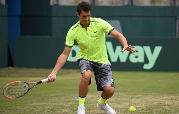 Bernard Tomic hits in Sydney during an Australian Davis Cup team practice session