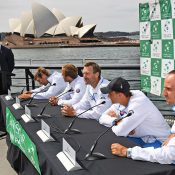The Slovakian Davis Cup team at a press conference on Sydney Harbour at the official draw ceremony; Getty Images