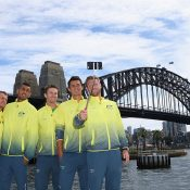 The Australian Davis Cup team poses for a selfie on Sydney Harbour at the official draw ceremony; Getty Images