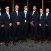 The Australian Davis Cup squad at the official team dinner; Getty Images