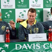(L-R) Nick Kyrgios, Lleyton Hewitt and Bernard Tomic at a pre-tie press conference; Getty Images