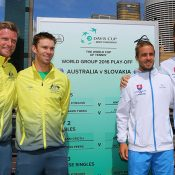 Aussies Sam Groth (L) and John Peers will in the doubles rubber take on Igor Zelenay (R) and Andrej Martin; Getty Images