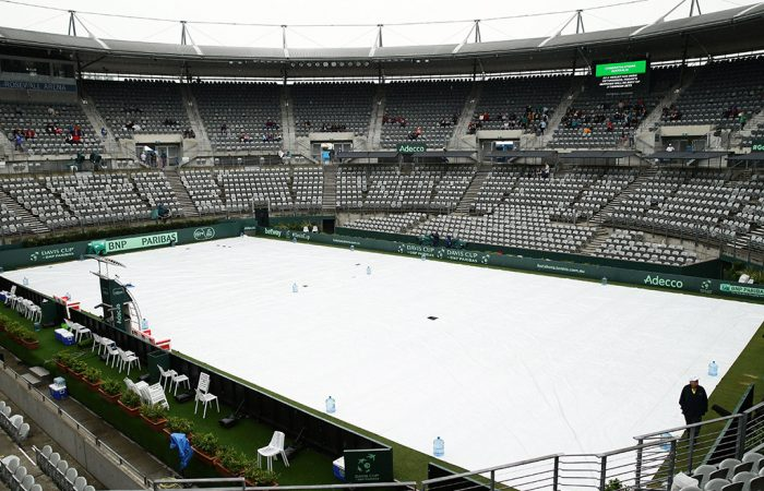 Rain falls over Ken Rosewall Arena in Sydney, washing out the final day of Australia's Davis Cup World Group Play-off tie against Slovakia; Getty Images