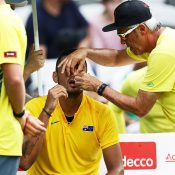 Nick Kyrgios receives medical treatment during his victory in the opening singles rubber over Andrej Martin; Getty Images