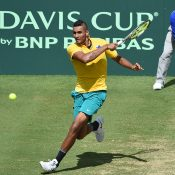 Nick Kyrgios in action during his victory in the opening singles rubber over Andrej Martin; Getty Images