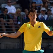 Bernard Tomic in action during his victory in the second singles rubber over Jozef Kovalik; Getty Images