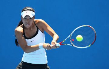 MELBOURNE, AUSTRALIA - DECEMBER 16:  Lizette Cabrera of Australia plays a backhand in her first round match against Daria Gavrilova of Australia during the 2015 Australian Open play off at Melbourne Park on December 16, 2014 in Melbourne, Australia.  (Photo by Robert Prezioso/Getty Images)