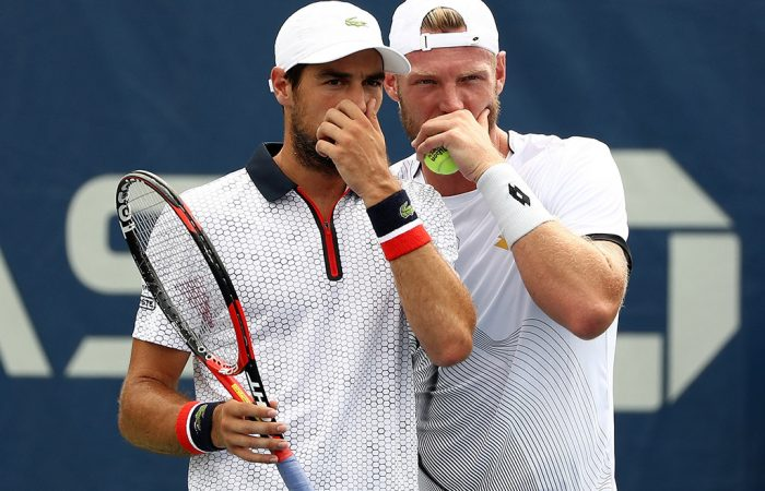 Sam Groth (R) is partnering Jeremy Chardy (L) in men's doubles at the 2016 US Open; Getty Images