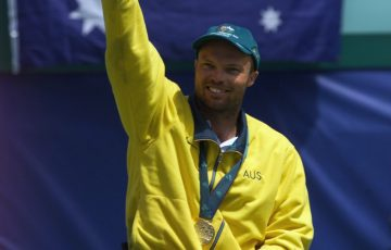 David Hall celebrates his Paralympic gold medal win at Sydney 2000; Getty Images