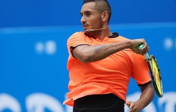 Nick Kyrgios fell in the second round of the ATP Chengdu Open to Kevin Anderson; photo credit Chengdu Open