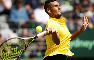 Nick Kyrgios in action during his victory over Andrej Martin in the opening singles rubber of Australia's Davis Cup World Group Play-off tie against Slovakia in Sydney; Getty Images