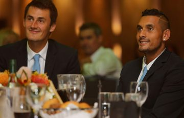 Bernard Tomic (L) and Nick Kyrgios at the Australia v Slovakia Davis Cup official team dinner in Sydney; Getty Images