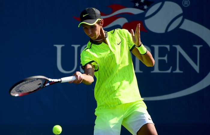 Alexei Popyrin in action in the first round of the boys' singles at the 2016 US Open; Getty Images