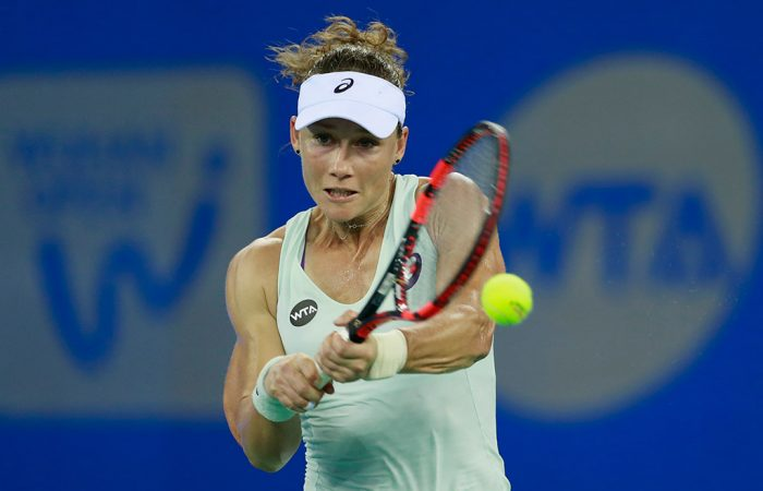 Sam Stosur in action during her first-round loss to Caroline Wozniacki at the Wuhan Open in China; Getty Images