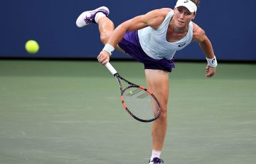 Sam Stosur serves during her second-round loss to Zhang Shuai at the US Open; Getty Images
