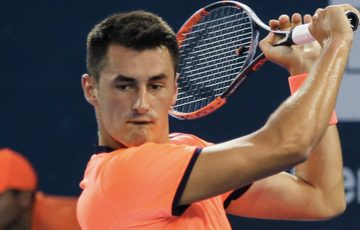 Bernard Tomic in action during his three-set victory over Ryan Harrison in the second round in Shenzhen; photo credit Shenzhen Open