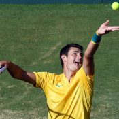 Bernard Tomic in action during his victory over Jozef Kovalik in the second singles rubber of Australia's Davis Cup World Group Play-off tie against Slovakia in Sydney; Getty Images