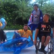 The Australian men's wheelchair team of (L-R) Heath Davidson, Ben Weekes, Adam Kellerman and Dylan Alcott relax by the pool in Miami; Tennis Australia