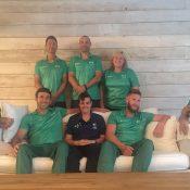 Front row: the Australian wheelchair tennis team of (L-R) Heath Davidson, Adam Kellerman, Sarah Calati, Ben Weekes and Dylan Alcott; Tennis Australia