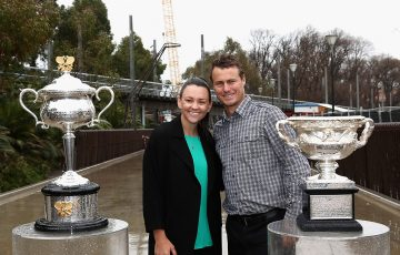 Australian tennis stars Casey Dellacqua (L) and Lleyton Hewitt were on hand to launch Australian Open 2017 in Melbourne; Getty Images