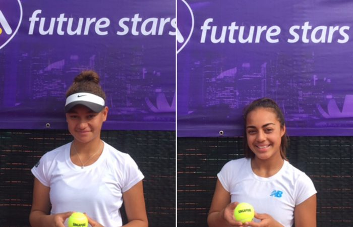 Violet Apisah (L) and Annerly Poulos will head to Singapore for the WTA Future Stars event; Tennis Australia