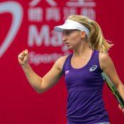 Daria Gavrilova celebrates her winning form at the Hong Kong Tennis Open; photo credit Halo Studios
