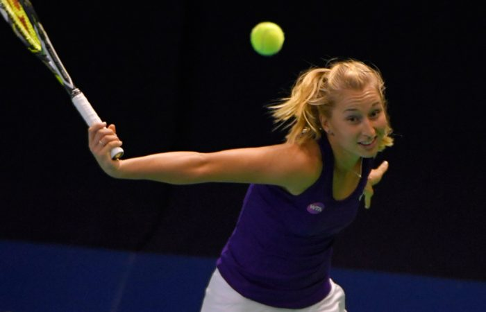 Daria Gavrilova in action at the WTA event in Moscow; photo credit Kremlin Cup