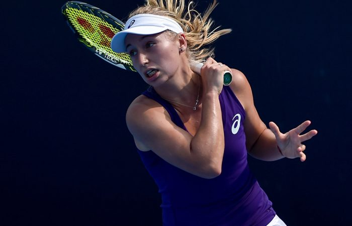 Daria Gavrilova in action during her first-round win over Christina McHale at the China Open in Beijing; Getty Images