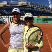 65+ Gold Women's Doubles, Wendy Gilchrist (L) and Adrienne Avis