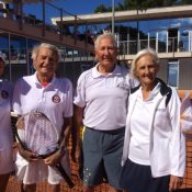 85+ Gold Mixed Doubles, Rosemarie Ash, Lorne Main (Canada) and Silver: Adrian Alle and Margerat Fisher