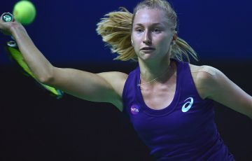 Daria Gavrilova in action against Svetlana Kuznetsova during the Kremlin Cup final in Moscow, Russia; Getty Images