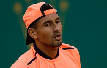 Nick Kyrgios in action during his loss to Mischa Zverev at the Shanghai Rolex Masters; Getty Images