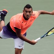 Nick Kyrgios sends down a serve during his first-round victory over Ryan Harrison at the ATP Japan Open in Tokyo; Getty Images