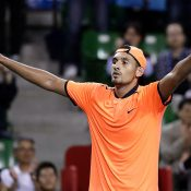 Nick Kyrgios celebrates his Japan Open Tennis Championships title, which pushed him to a career-high ranking of world No.14; Getty Images