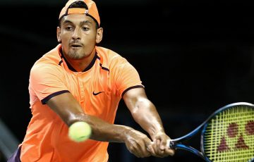 Nick Kyrgios in action in the Rakuten Japan Open Tennis Championships final in Tokyo, where he beat David Goffin; Getty Images
