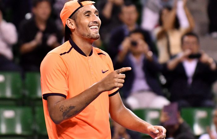 Nick Kyrgios celebrates his victory at the Japan Open Tennis Championships in Tokyo; Getty Images