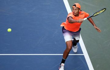 Nick Kyrgios in action during his quarterfinal victory over Gilles Miller at the Rakuten Japan Open Tennis Championships in Tokyo; Getty Images