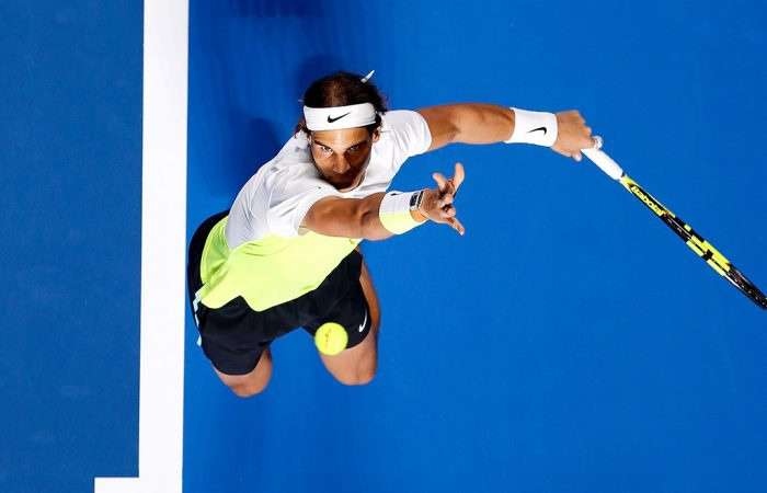 Rafael Nadal serves during the 2016 FAST4 event in Sydney at Allphones Arena; Getty Images