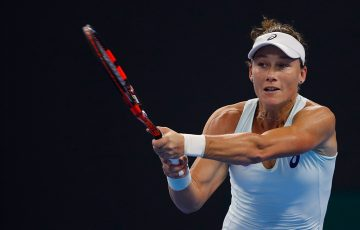 Sam Stosur in action during her first-round loss to Zhang Shuai in Beijing; Getty Images
