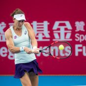 Sam Stosur in action during her loss to Nao Hibino at the Prudential Hong Kong Tennis Open; photo credit Halo Studios